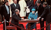 Queen Signs Canadian Constituion