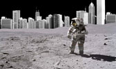 Man on Moon plus city scape